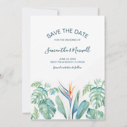 Tropical Watercolor Botanical Save The Date