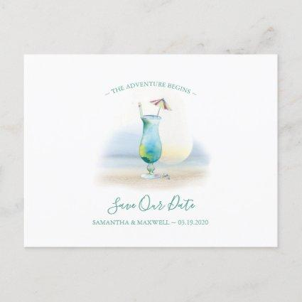 Tropical Watercolor Cocktail Save the Date Holiday