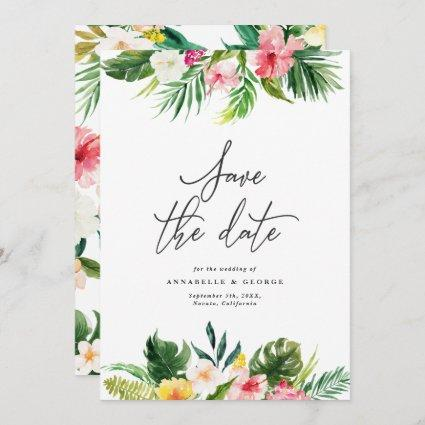 Tropical watercolor floral save the date