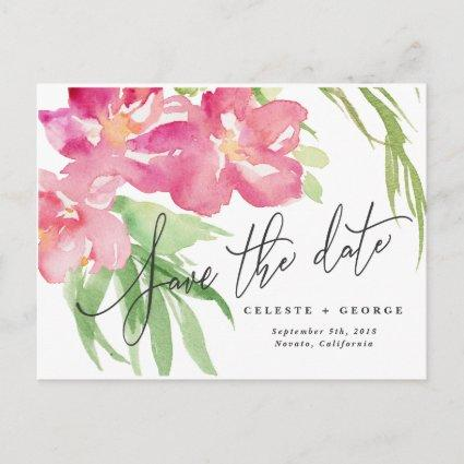 Tropical watercolor floral save the date announcement