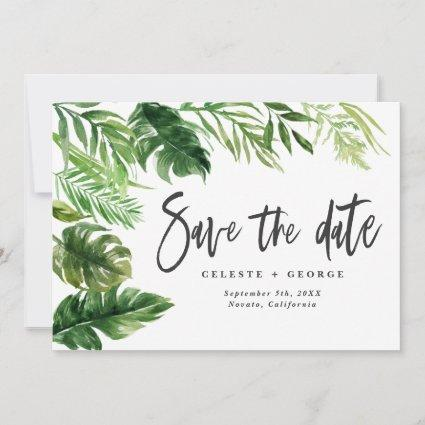 Tropical watercolor foliage floral save the date