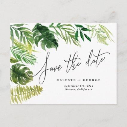 Tropical watercolor foliage save the date announcement