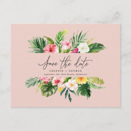 Tropical watercolor foliage script save the date announcement