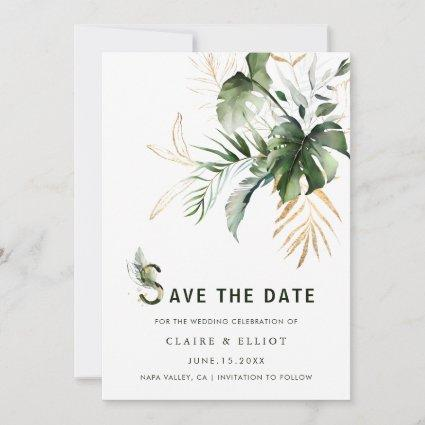 Tropical Watercolor Foliage Wedding Save the Date