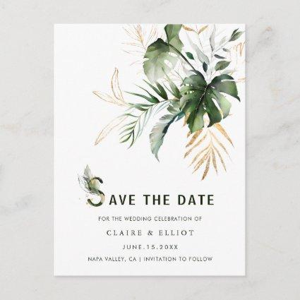 Tropical Watercolor Foliage Wedding Save the Date Announcement