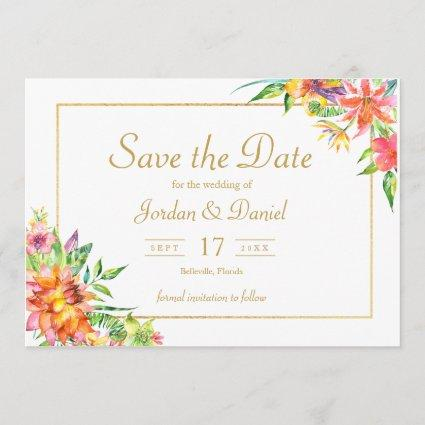 Tropical Watercolor Gold  Frame Wedding invitation