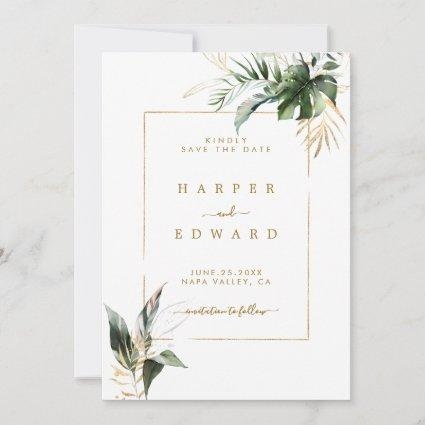 Tropical Watercolor Leaves Gold Wedding Save The Date