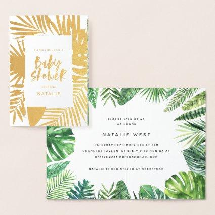 Tropical watercolor palm leaf baby shower invite