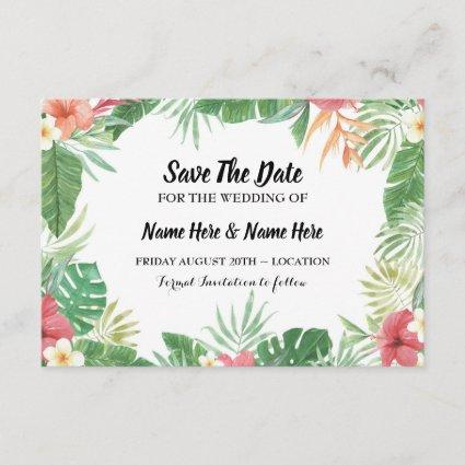Tropical Watercolor Save The Date Aloha Invite