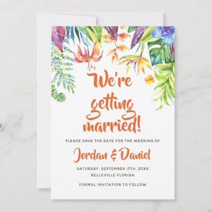 Tropical Watercolor Summer Wedding Save the Date