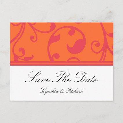 Tropical Wedding Orange Save The Date Cards