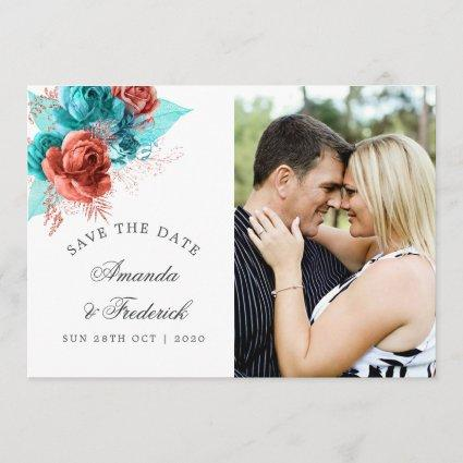 Turquoise and Coral Tropical Wedding Save the Date