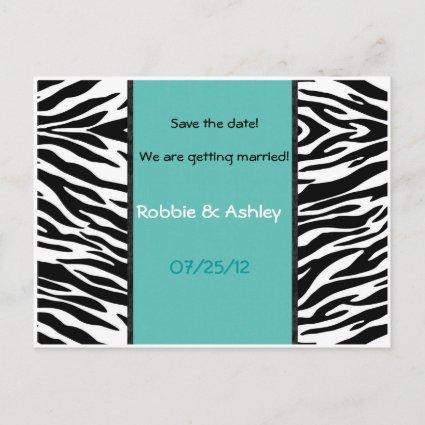Turquoise and Zebra Stripes Save the date