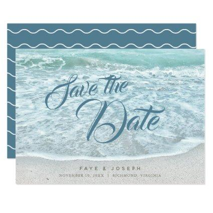 Turquoise Blue Ocean Save the Date Card