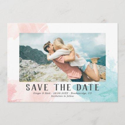 Turquoise & Blush Watercolor - Photo Save the Date