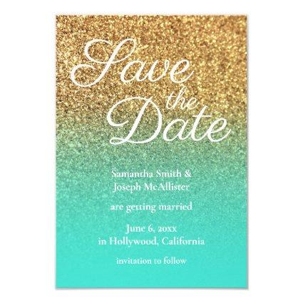Turquoise Ombre Gold Glitter Photo Save the Date Invitation