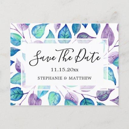 Turquoise Purple Leaves Wedding Save The Date Announcement