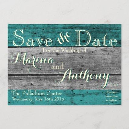 Turquoise Rustic Splash Save the Date No.6