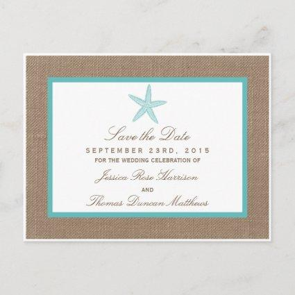 Turquoise Starfish Burlap Beach Wedding Collection Announcements Cards