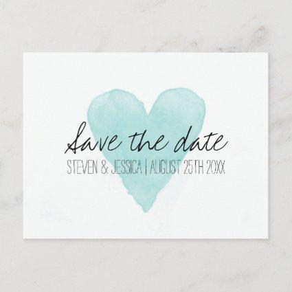 Turquoise watercolor heart s