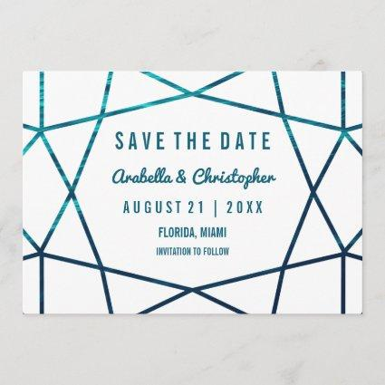 Turquoise Waves Geometric Save the Date