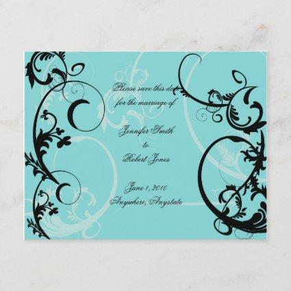 Turquoise with Black Swirl Flourish Embellishment Save The Date