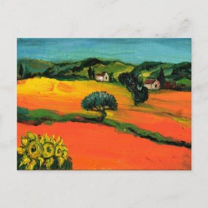 TUSCANY LANDSCAPE WITH SUNFLOWERS IN RED ORANGE INVITATION
