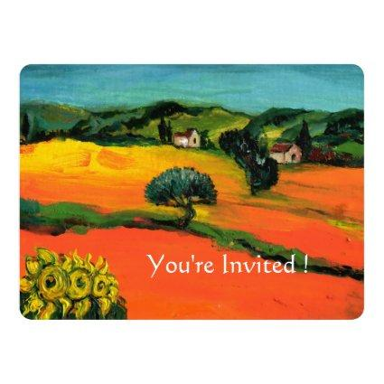 TUSCANY LANDSCAPE WITH SUNFLOWERS orange  black Invitation