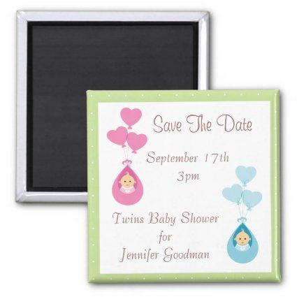 Twins & Balloons Save The Date Baby Shower Magnet