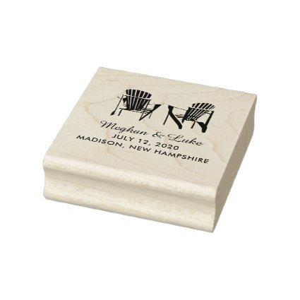 Two Adirondack Chairs Lake or Beach Wedding Rubber Stamp