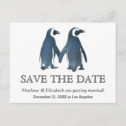 Two Cute Penguins | Romantic Wedding Save The Date Announcements Cards
