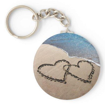 Two Hearts In The Sand Keychain