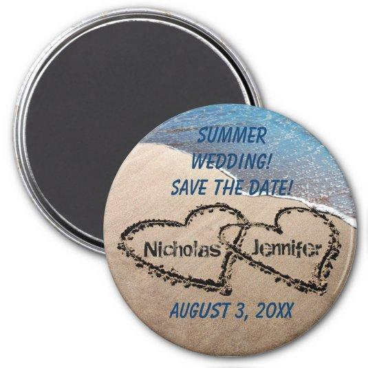 Two Hearts In The Sand Save The Date Magnet