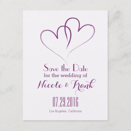 Two Hearts intertwined Save the Date -Purple