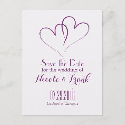 Two Hearts intertwined Save the Date -Purple Announcement