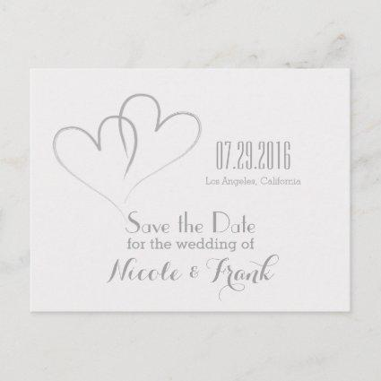Two Hearts intertwined Save the Date -Silver Announcement