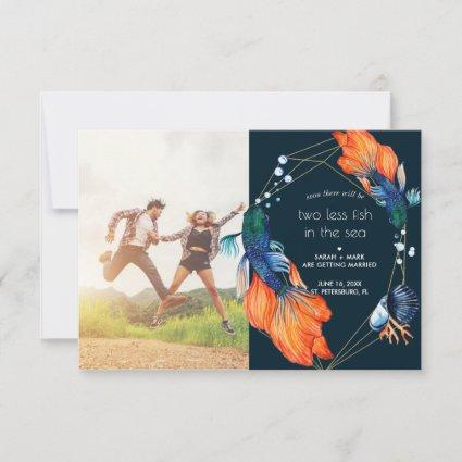 Two Less Fish Save the Date Card
