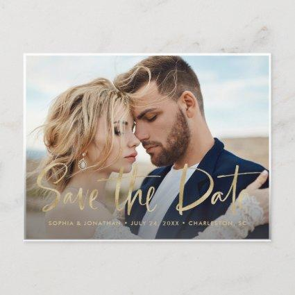 Two Photo | Faux Gold Modern Script Save the Date Announcement