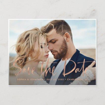 Two Photo | Faux Rose Gold Script Save the Date Announcement