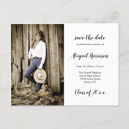 Two Photo Graduation Save The Date Announcement