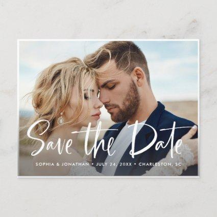 Two Photo | Modern Script Save the Date Announcement