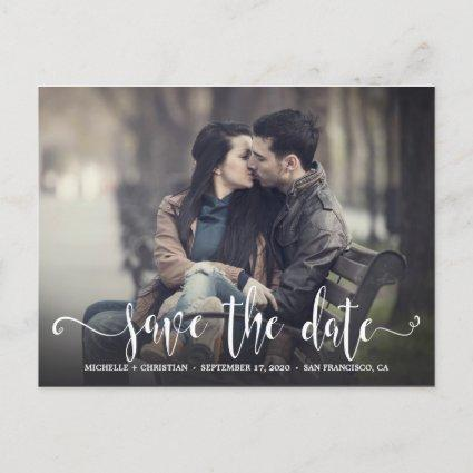 Two Sided Calligraphy Calendar Photo Save The Date Announcement