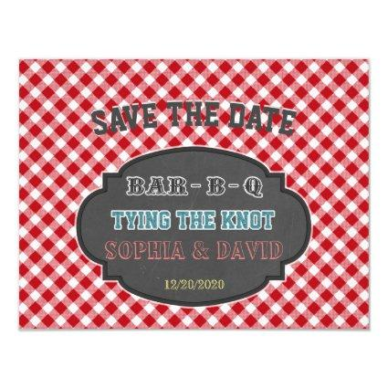 Tying the Knot BBQ Chalk Gingham Engagement Invitation