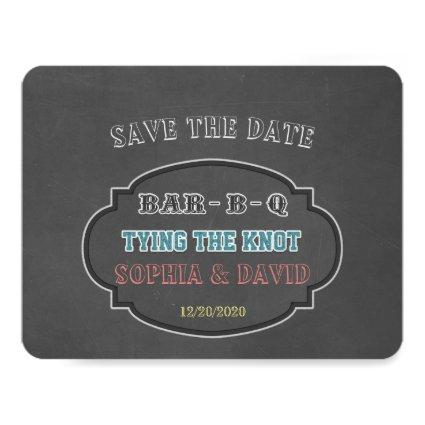 Tying the Knot BBQ Chalkboard Engagement Invitation