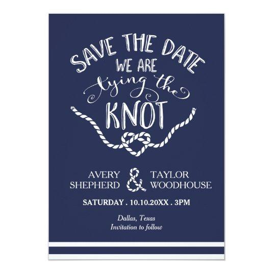 Tying the Knot Calligraphy Save the Date 5x7 Paper Invitation Card
