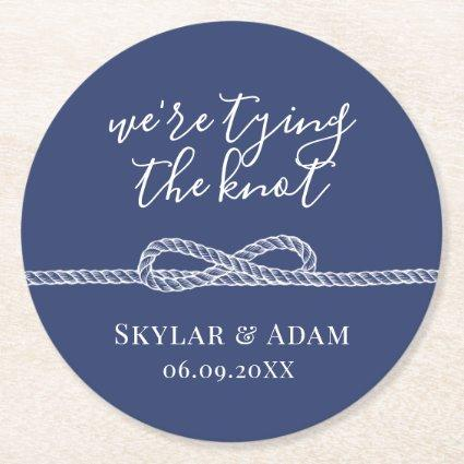 Tying the Knot Nautical Blue Save the Date Round Paper Coaster