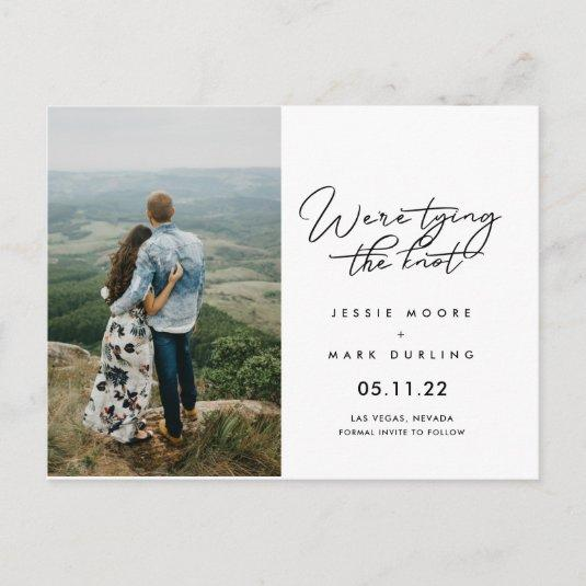 Tying the Knot Script Photo Save the Dates Announcement