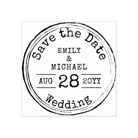 Typewriter Font Save The Date Wedding Rubber Stamp
