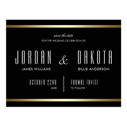 Typography   Black & Gold  Photo Cards