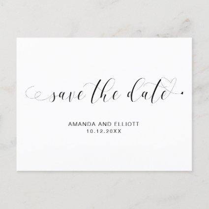 Typography Calligraphy Black White Save the Date Announcement